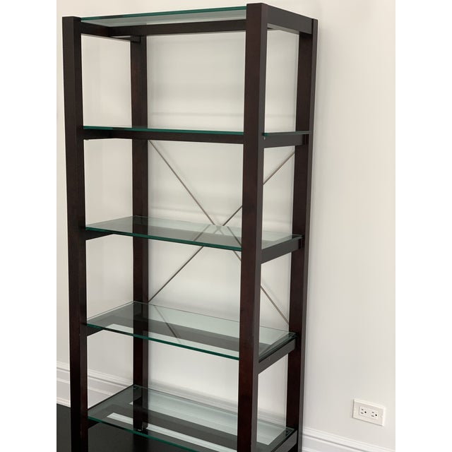 Contemporary Williams Sonoma Home Glass Bookcase For Sale - Image 3 of 10
