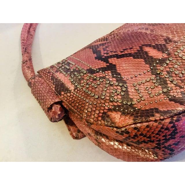 1990s Gianni Versace Iridescent Pink Python Shoulder Bag For Sale - Image 9 of 12