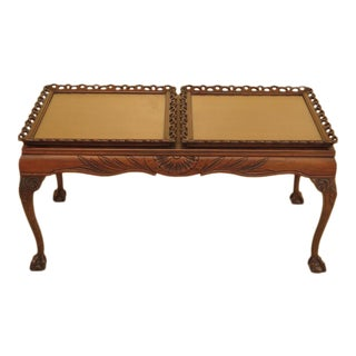 Vintage 1920's Ball & Claw Mahogany Coffee Table W. Tray Top For Sale