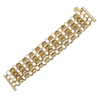 Givenchy Four Chain Hand Hammered Gold Plated Link Cuff Bracelet For Sale