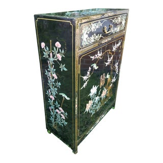 Asian Style Hand Painted Black Lacquer Cabinet For Sale