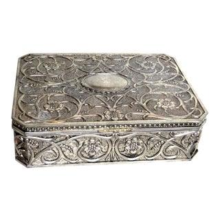 Vintage Art Nouveau Style Large Silver Box