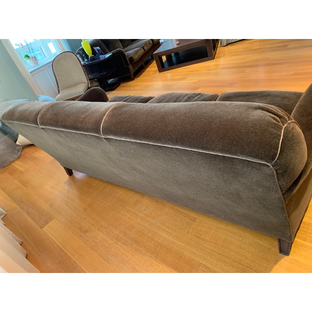 Art Deco Modern Schumacher Mohair Three Seat Sofa / 2 Available For Sale - Image 3 of 12