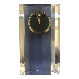 Movado Crystal Desk Clock With Museum Dial For Sale