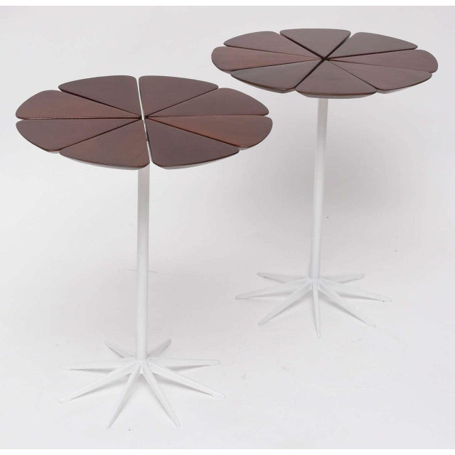 Always fresh and charming! Early pair of Knoll petal tables by Richard Schultz with white enameled bases and redwood tops....