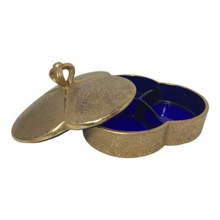 1940s French Gold & Bleu Cobalt Box For Sale