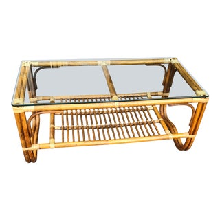 1970s Vintage Rattan Coffee Table For Sale