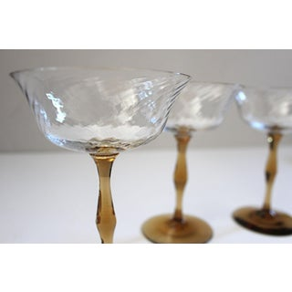 Vintage Amber Stemmed Art Nouveau Coupe Champagne Glasses - Set of 4 Preview