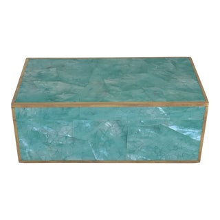 Made Goods Contemporary Turquoise Shell Erin Box For Sale