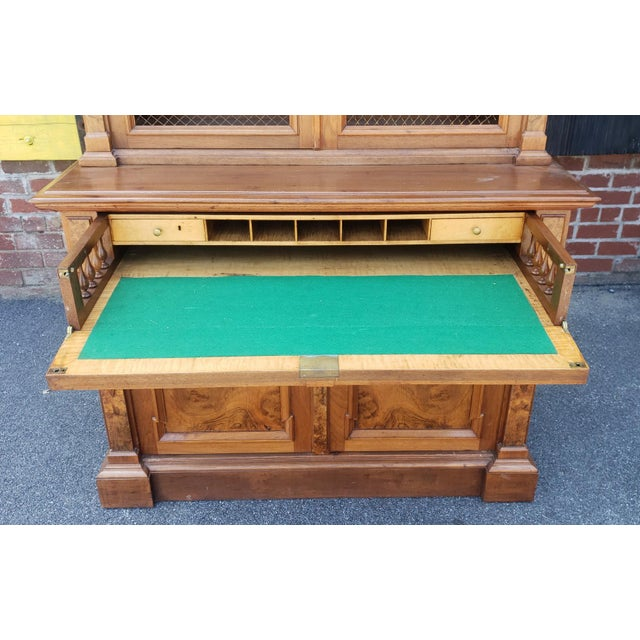 Traditional Antique 19th Century Palatial Size Burl Walnut Eastlake Victorian Butler's Secretary Desk C1860 For Sale - Image 3 of 13