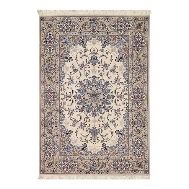 """Persian Pasargad Ivory Isfahan Silk Wool Rug - 3'7"""" X 5'3"""" For Sale"""