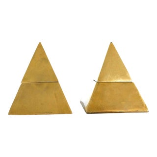 60s Brass Pyramid Lidded Ashtray & Box - A Pair