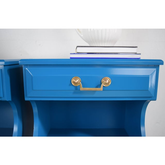 20th Century Italian Baroque Teal Blue Side Tables - a Pair For Sale In San Francisco - Image 6 of 9
