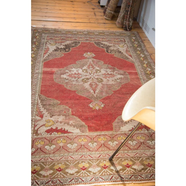 "Vintage Distressed Oushak Rug - 4'8"" X 6'10"" - Image 5 of 8"