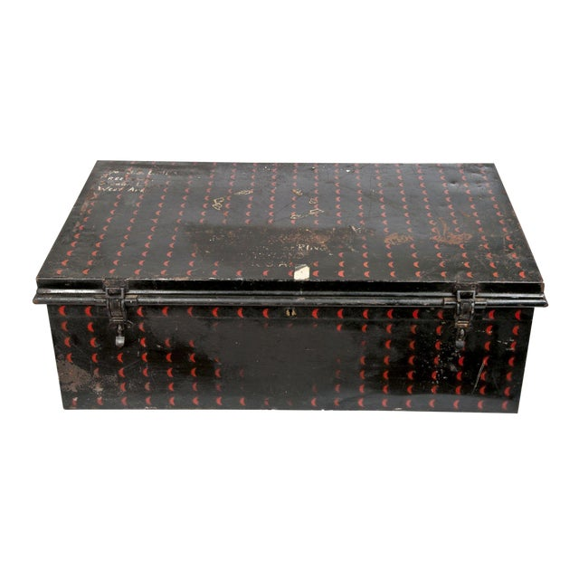 English Cathedral Handpainted Metal Trunk - Image 1 of 6