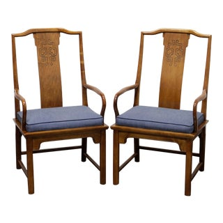 Century Chin Hua Raymond Sobota Asian Chinoiserie Dining Captain's Armchairs - Pair For Sale