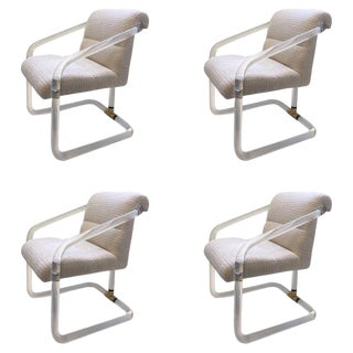 Set of Four Acrylic and Brass Chairs by Lion in Frost For Sale