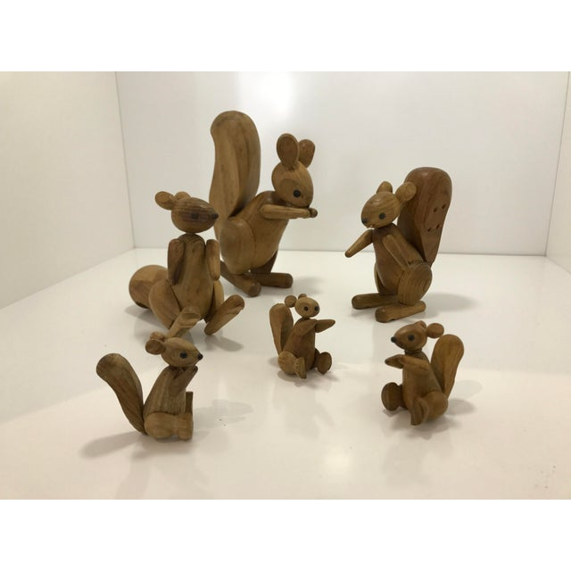 Asian Vintage Wooden Family of Squirrels - Set of 6 For Sale - Image 3 of 4