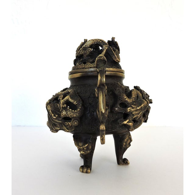 Vintage Chinese Solid Brass 'Dragon' Tripod Censer, Signed For Sale - Image 4 of 8