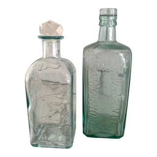 Late 19th Century Antique Glass Bottles For Sale