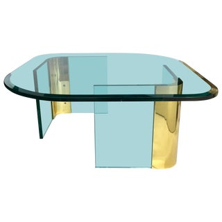 Modern Sculptural Brass and Glass Coffee Table in the Style of Pace For Sale