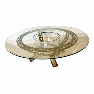 Glamorous Hollywood Regency Clear Round Glass Coffee Table With Bowl Center, 1970s For Sale