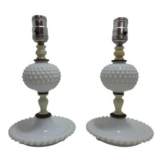 Fenton Hobnail Milk Glass Table Lamps - A Pair For Sale