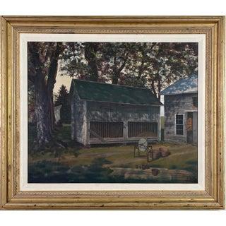 1950s Realist Rural Landscape Oil Painting, Framed For Sale