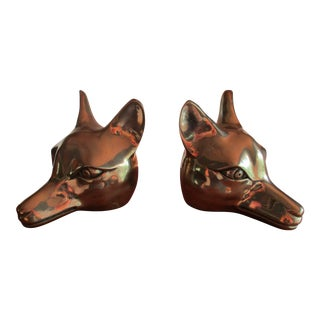 Brass Fox Head Bookends -A Pair For Sale
