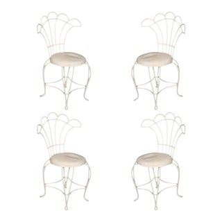 French Wrought Iron Fan Back Outdoor Patio Chairs, - Set of 4 For Sale