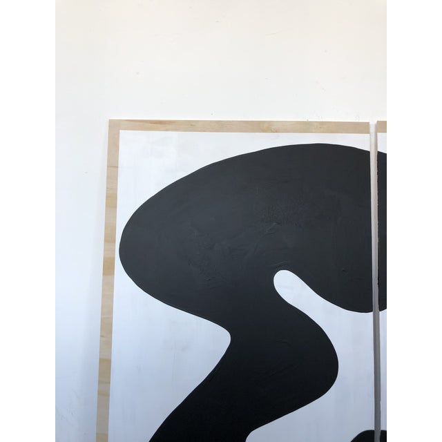 Wood The Big Swim X Hannah Polskin Black and White Abstract Diptych For Sale - Image 7 of 9