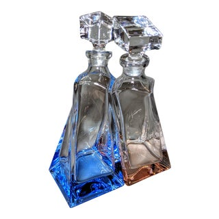 Blue and Pink Crystal Whiskey Decanters - Set of Two For Sale