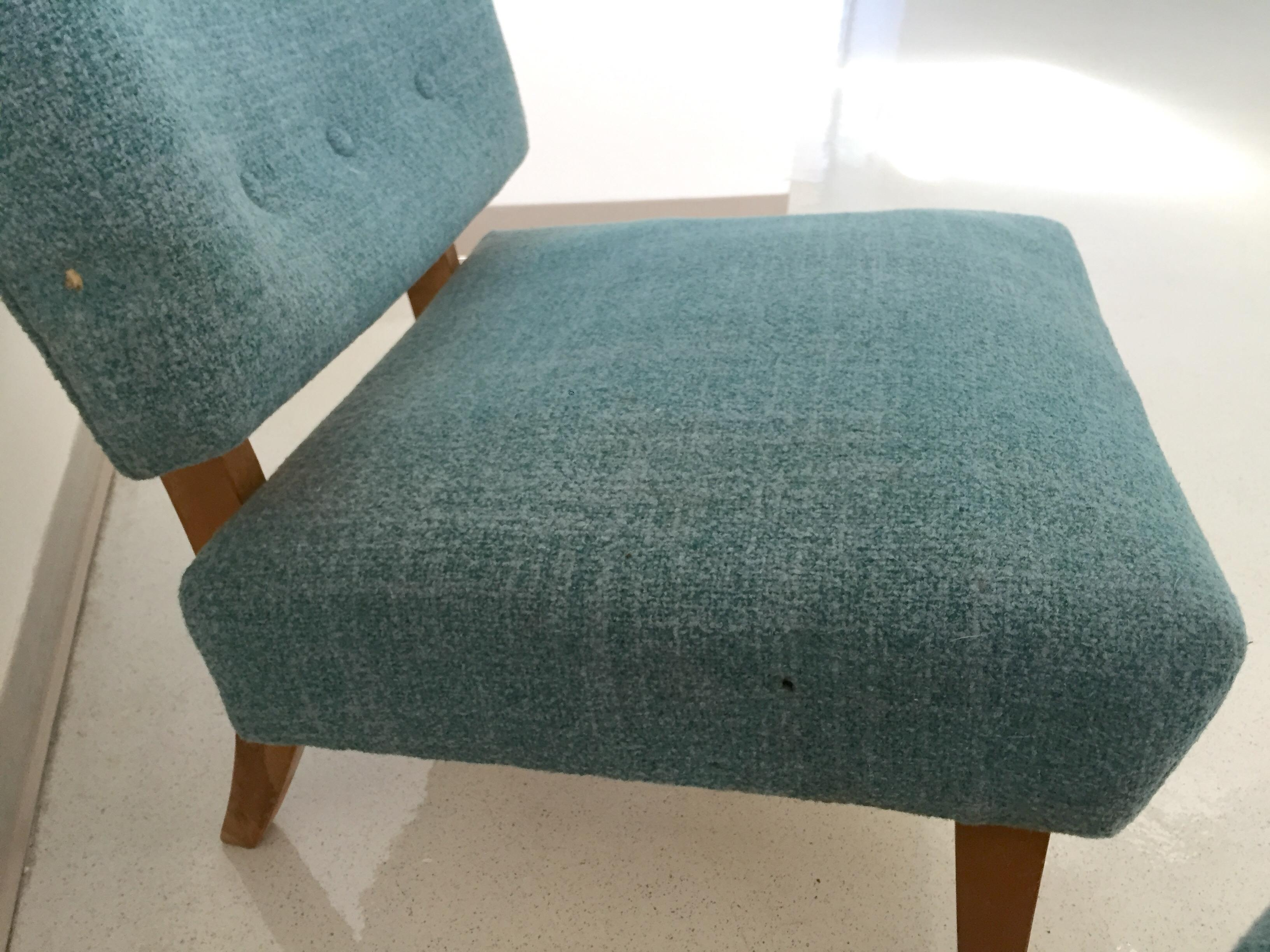 Vintage Kroehler Teal Blue Accent Slipper Chairs - a Pair - Image 4 of 11  sc 1 st  Chairish & Vintage Kroehler Teal Blue Accent Slipper Chairs - a Pair | Chairish