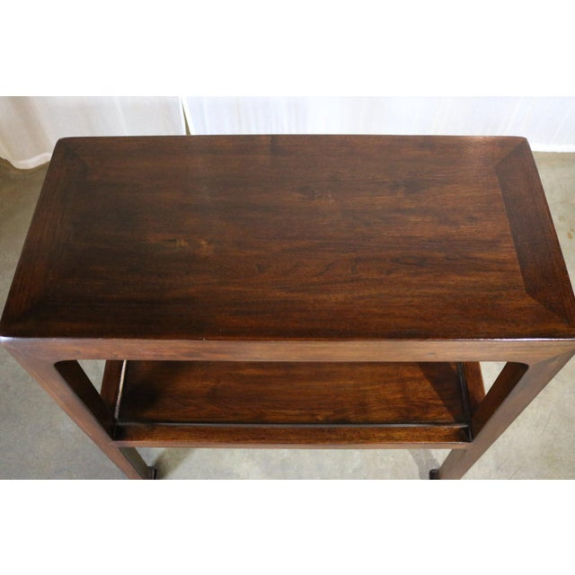Mid 19th Century Chinese Elm Wood Side Table With Shelf - a Pair For Sale - Image 5 of 6