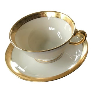 Lenox Lowell Gold Stamped China Cup and Saucer Set For Sale