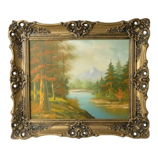 Mid 20th Century Scenic Landscape Oil Painting by Rumky, Framed For Sale