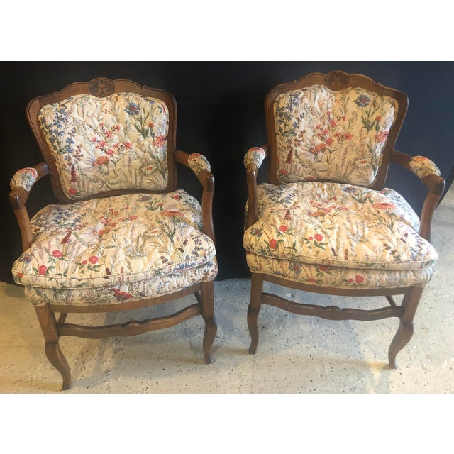 Blue Country French Boudoir Fauteuil Louis XV Chairs in Quilted Like Upholstery, Pair For Sale - Image 8 of 10