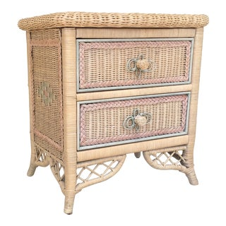 1970s Henry Link Wicker Night Stand For Sale