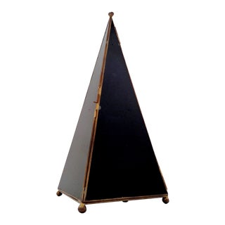 """Hollywood Regency Table Top 19"""" Black/Gold Pyramid Curio Case Cabinet For Sale"""