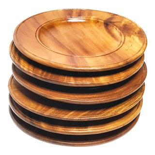 Vintage Mid-Century Modern Large Handcrafted Solid Wood Dinner Plates - Set of 6 For Sale