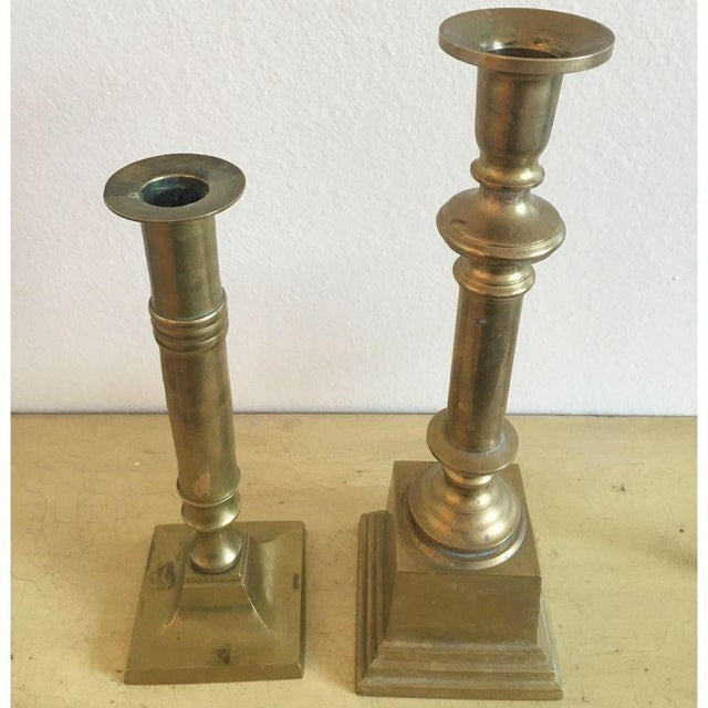 Heavy Brass Candle Stick Pair, Vintage Mid Century, Nautical Decor - Image 4 of 8
