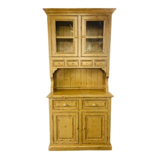 Antique French Farm Style Cabinet With Hutch in Off-White/ Beige For Sale