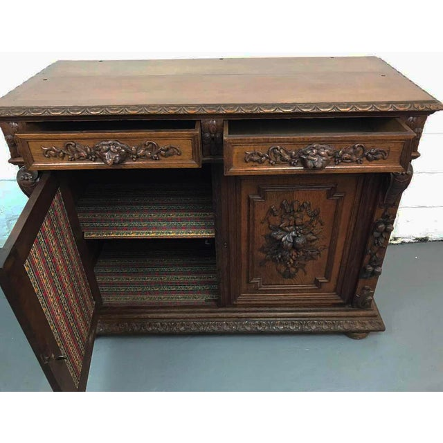 Brown French Antique Hand Carved Oak Sideboard For Sale - Image 8 of 10