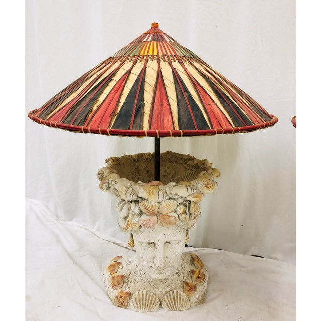 Mid 20th Century Pair Vintage Seashell Covered Bust Sculptural Lamps For Sale - Image 5 of 13