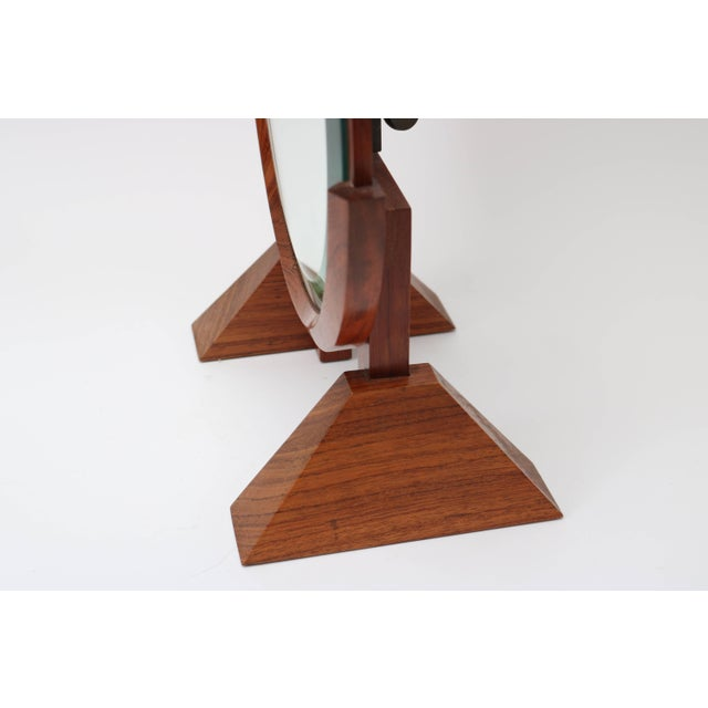 Vanity Table Mirror in Mahogany, Walnut and Brass by American Artisan For Sale - Image 4 of 7