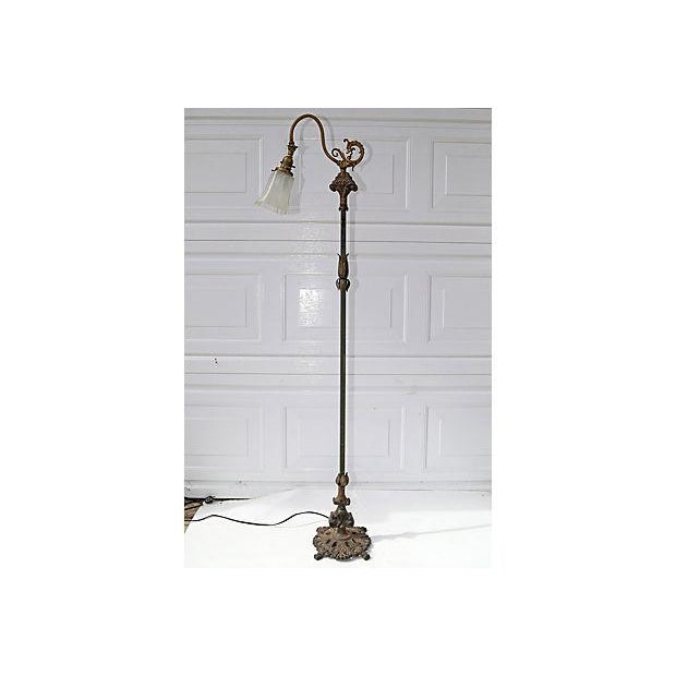Antique Iron Lamp With Glass Shade - Image 2 of 5