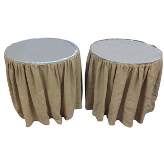French Country Linen Skirted Side Tables - A Pair For Sale