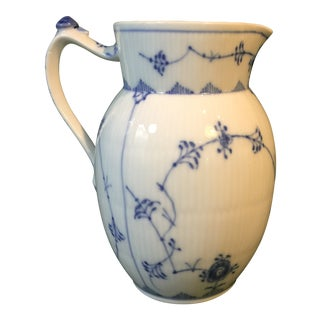 Mid 20th Century Royal Copenhagen Blue Fluted Half Lace Pattern Pitcher #1/450 For Sale