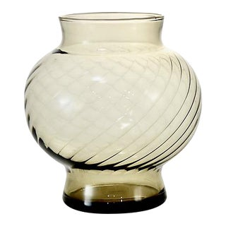 Mid Century Smoked Glass Optic Ball Vase For Sale