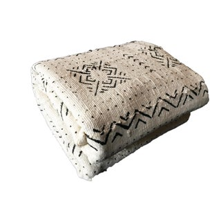 """African Large Black & White Mud Cloth Textile Mali 90"""" by 60"""" For Sale"""